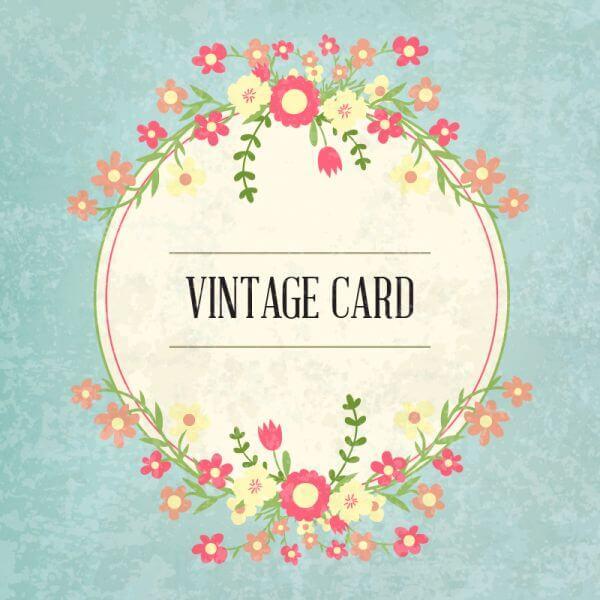 Floral frame, vintage card vector