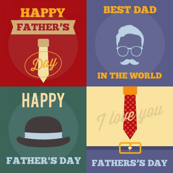 Father's Day Retro Cards vector