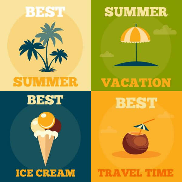 Summer retro illustrations vector