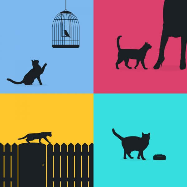 Cats silhouette retro posters vector