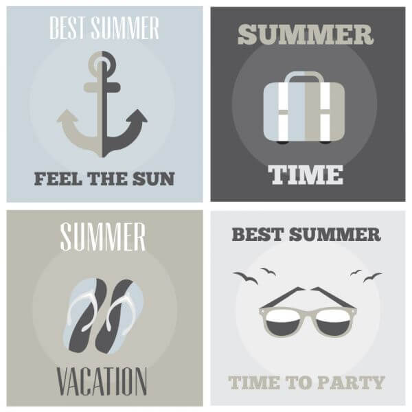 Summer posters set vector