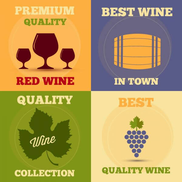 Retro wine posters set vector