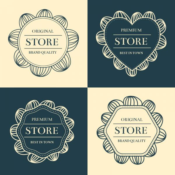 Hand drawn frames, labels set vector