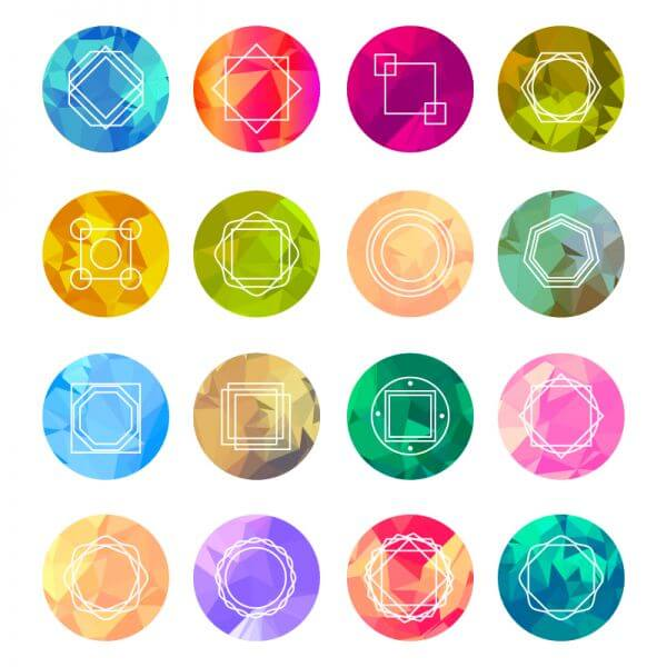 Abstract Geometric Labels Set With Logo Icons vector