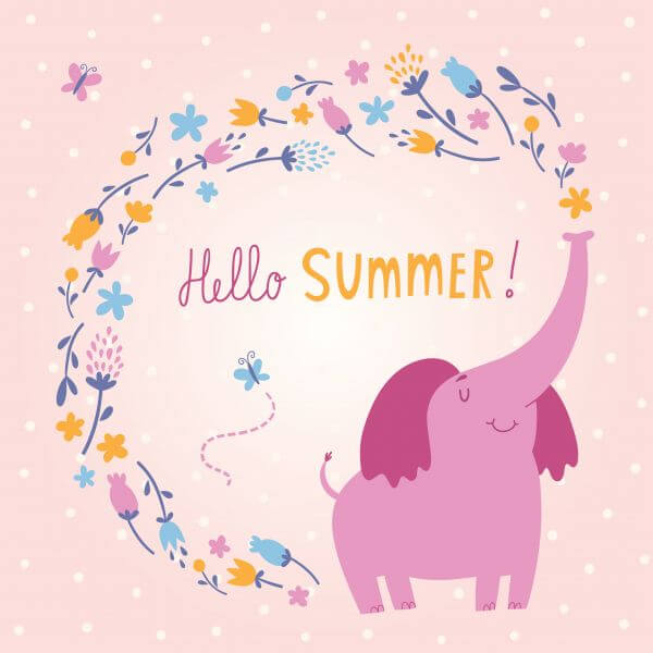 Hello Summer vector card with cute elephant vector