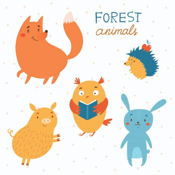Forest animals vector set vector