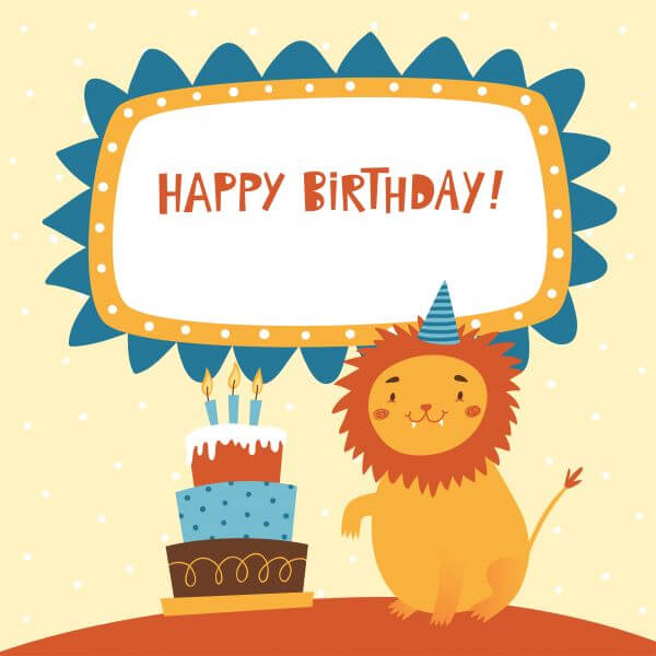 Happy Birthday card with cute lion vector