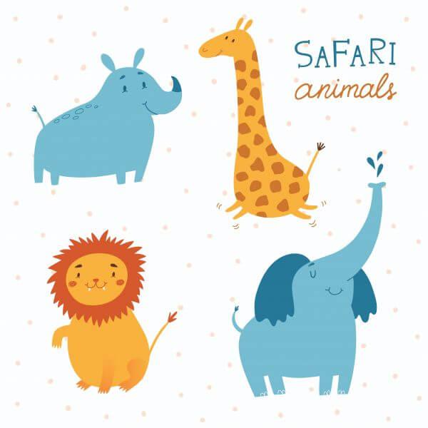 Safari animals vector set vector