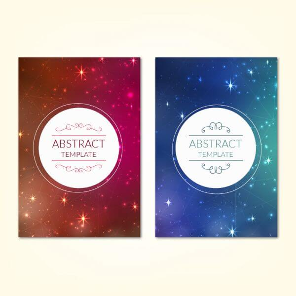 Posters template with universe starry sky background vector