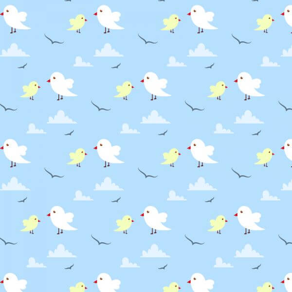 Seamless pattern with cute birds and clouds vector