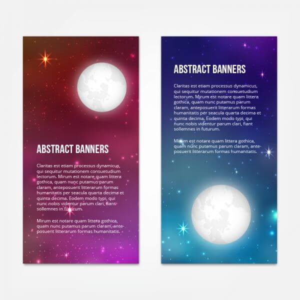 Starry sky banners design vector