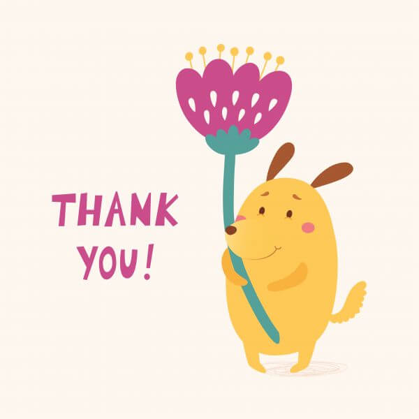 Thank you vector card with cute dog vector