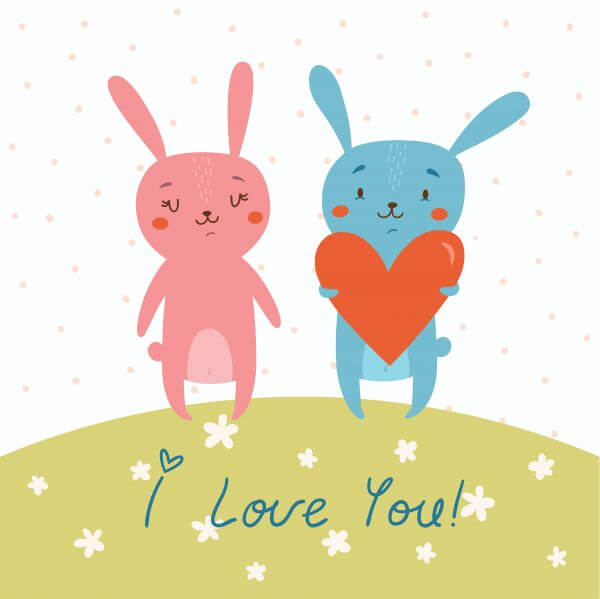 Vector card with cute bunnies in love vector