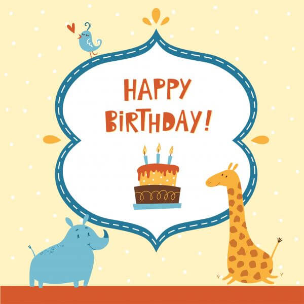 Happy Birthday card with cute animals vector