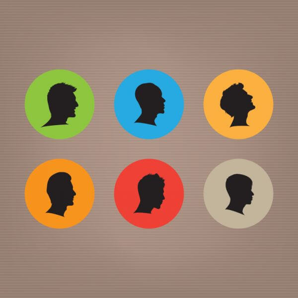 Male Silhouettes Set vector