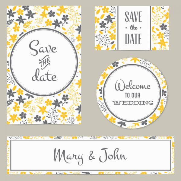 Floral wedding cover and card vector