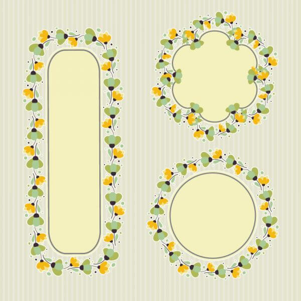 Set of floral frames  vector