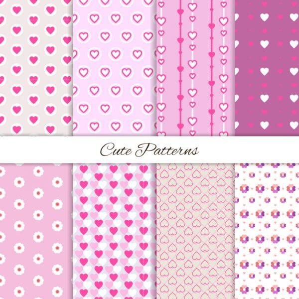 Set of seamless love patterns  vector