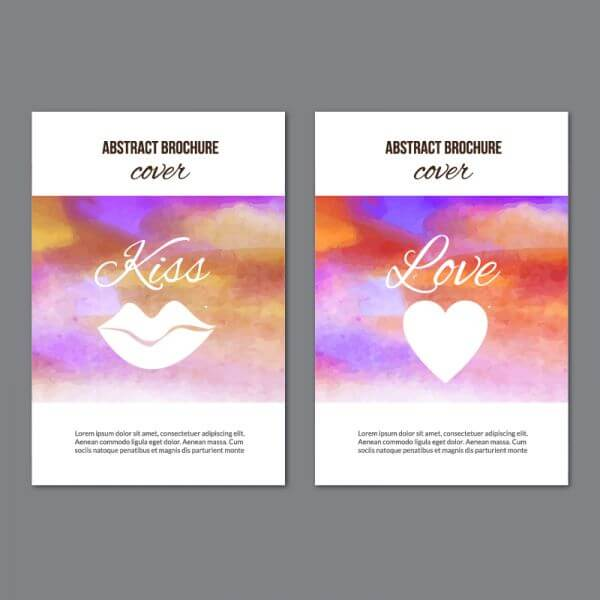 Watercolor brochures vector