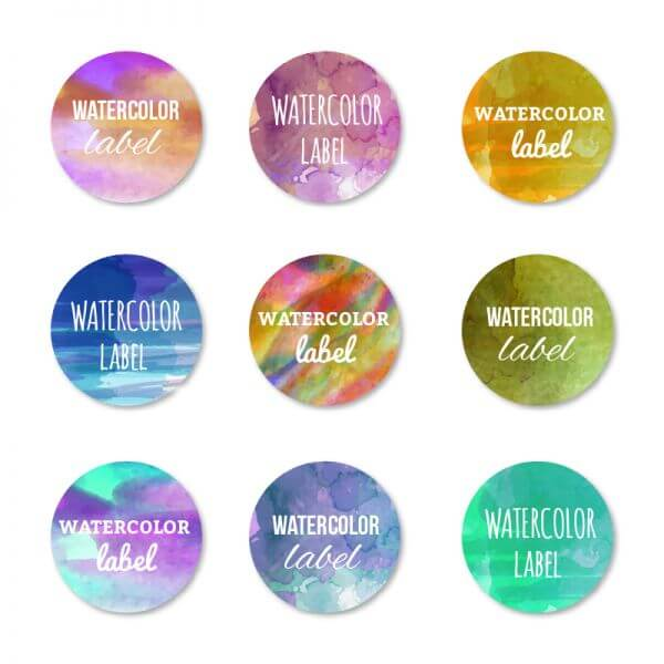Watercolor set of labels vector