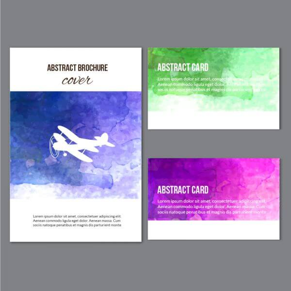 Watercolor brochure and cards vector