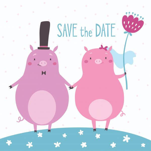 Save the date vector card with cute pigs vector