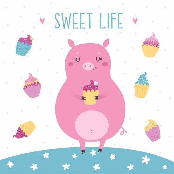 Vector illustration of cute pig with cupcakes. Sweet life vector