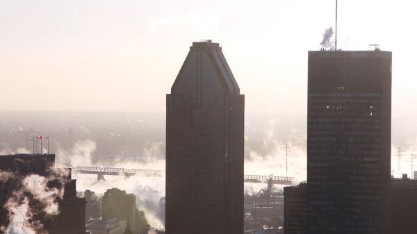 City  misty  skyscrapers video