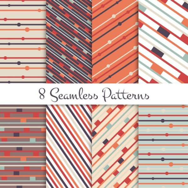 Retro lines seamless patterns set vector
