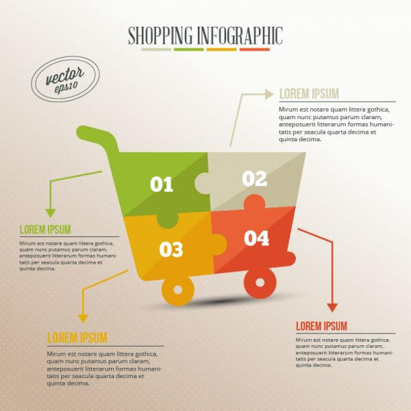 Business infographic, puzzle of shopping cart vector