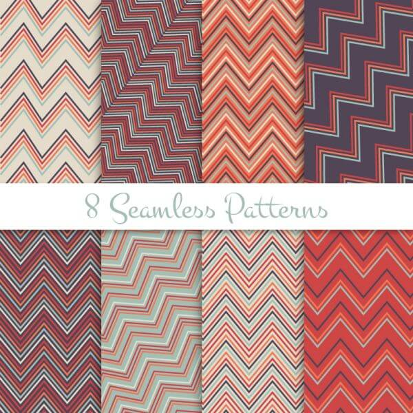 Retro seamless zig zag patterns set vector