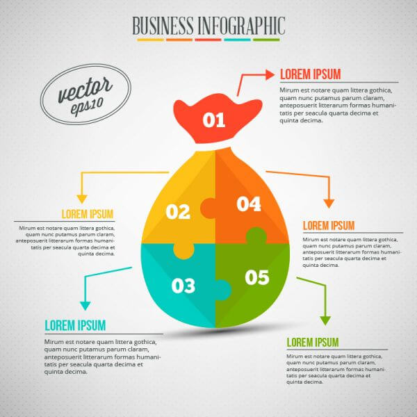 Business infographic, puzzle of a money bag vector