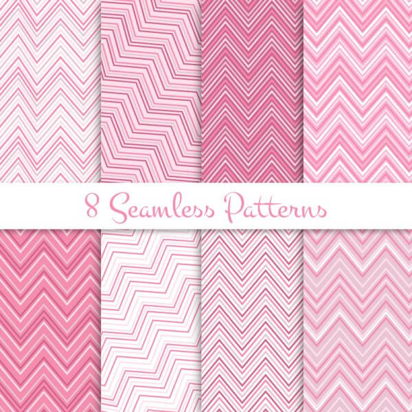 Pink zig zag seamless patterns set vector