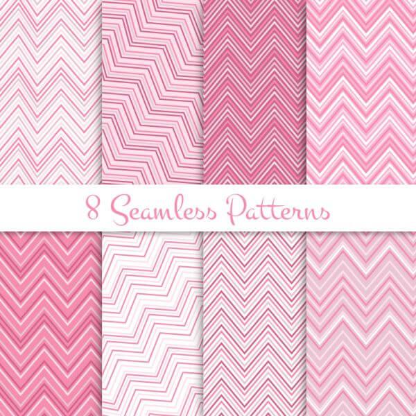 Pink zig zag seamless patterns set