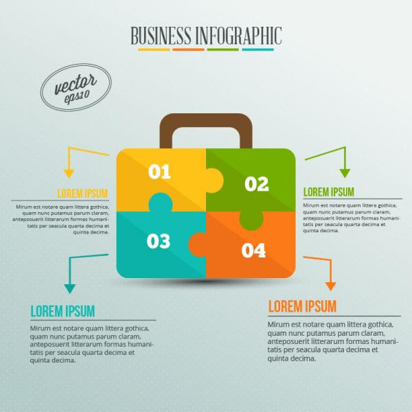 Business infographic, puzzle of a suitcase vector
