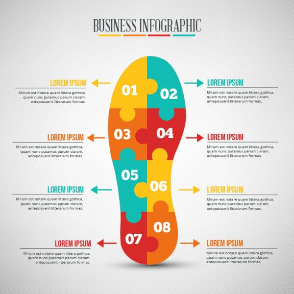 Business infographic, puzzle of a shoe shape vector