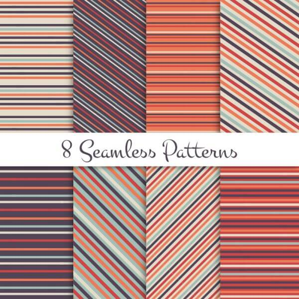 Retro striped seamless patterns set vector