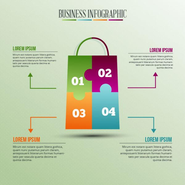 Infographic template with puzzle style shopping bag vector