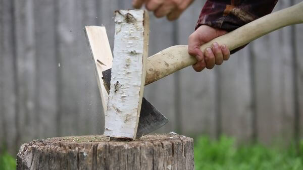 Firewood  axe  hack video
