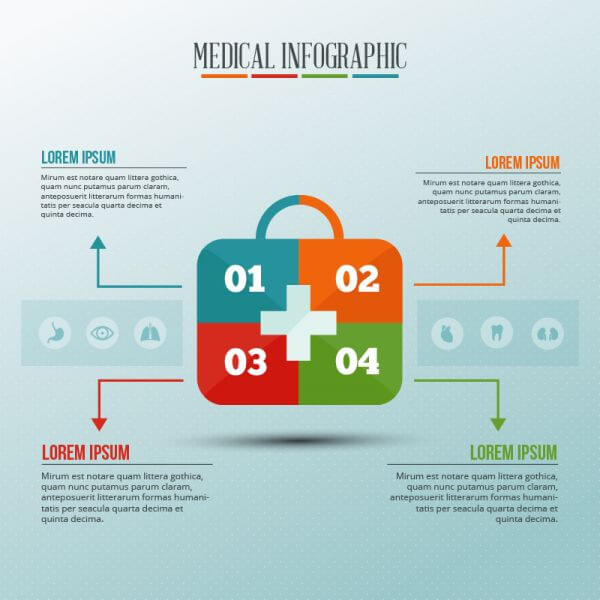 Infographic template with medical kit puzzle vector