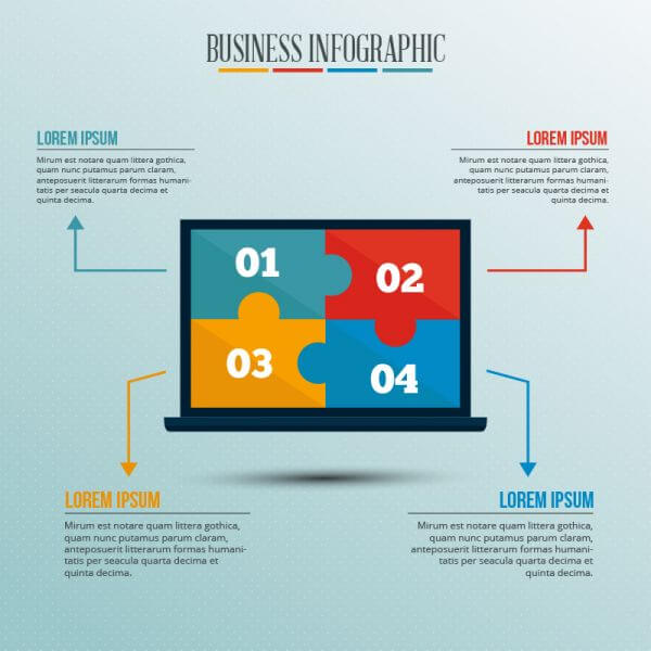 Infographic template with puzzle style laptop vector