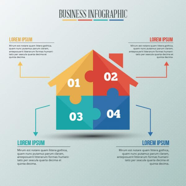 Infographic template with puzzle style house vector