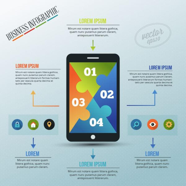 Infographic template with puzzle style phone vector