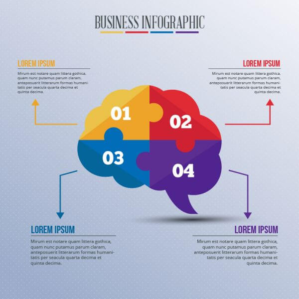 Infographic template with puzzle style brain vector