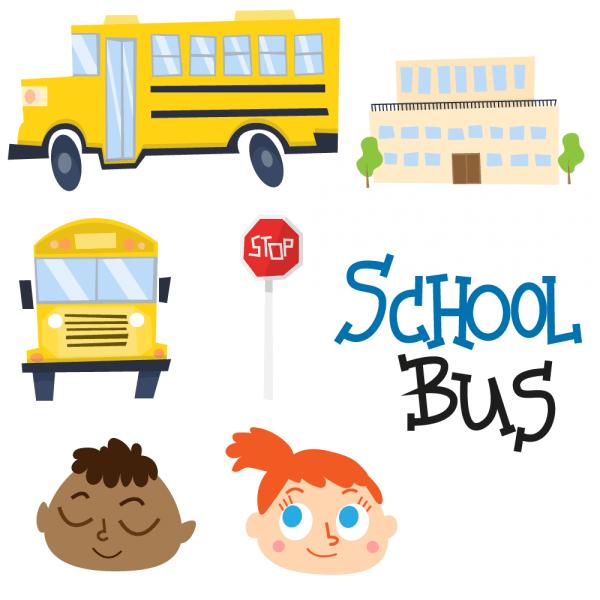 Cute school bus and school vectors vector