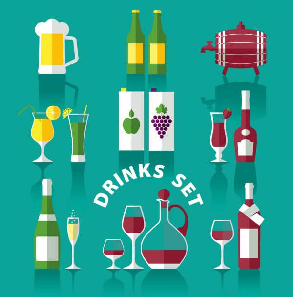 Drink icons of flat style vector