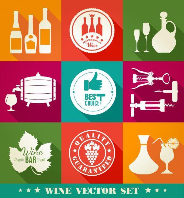 Drink illustration of vine. Color flat icons. vector