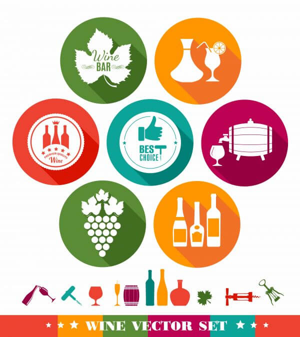 Drink illustration of wine. Color flat icons. vector