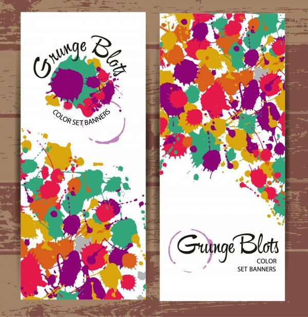 Banners of color blots vector