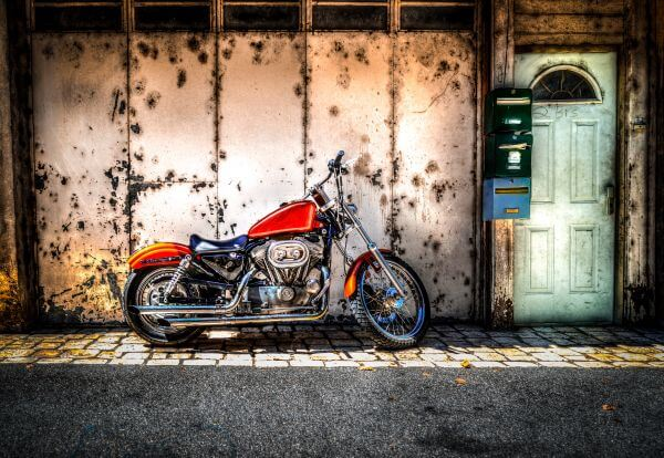 Parked motorcycle HDR photo